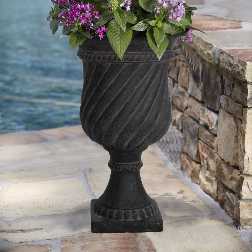 Cast Stone Swirl Urn in Aged Charcoal