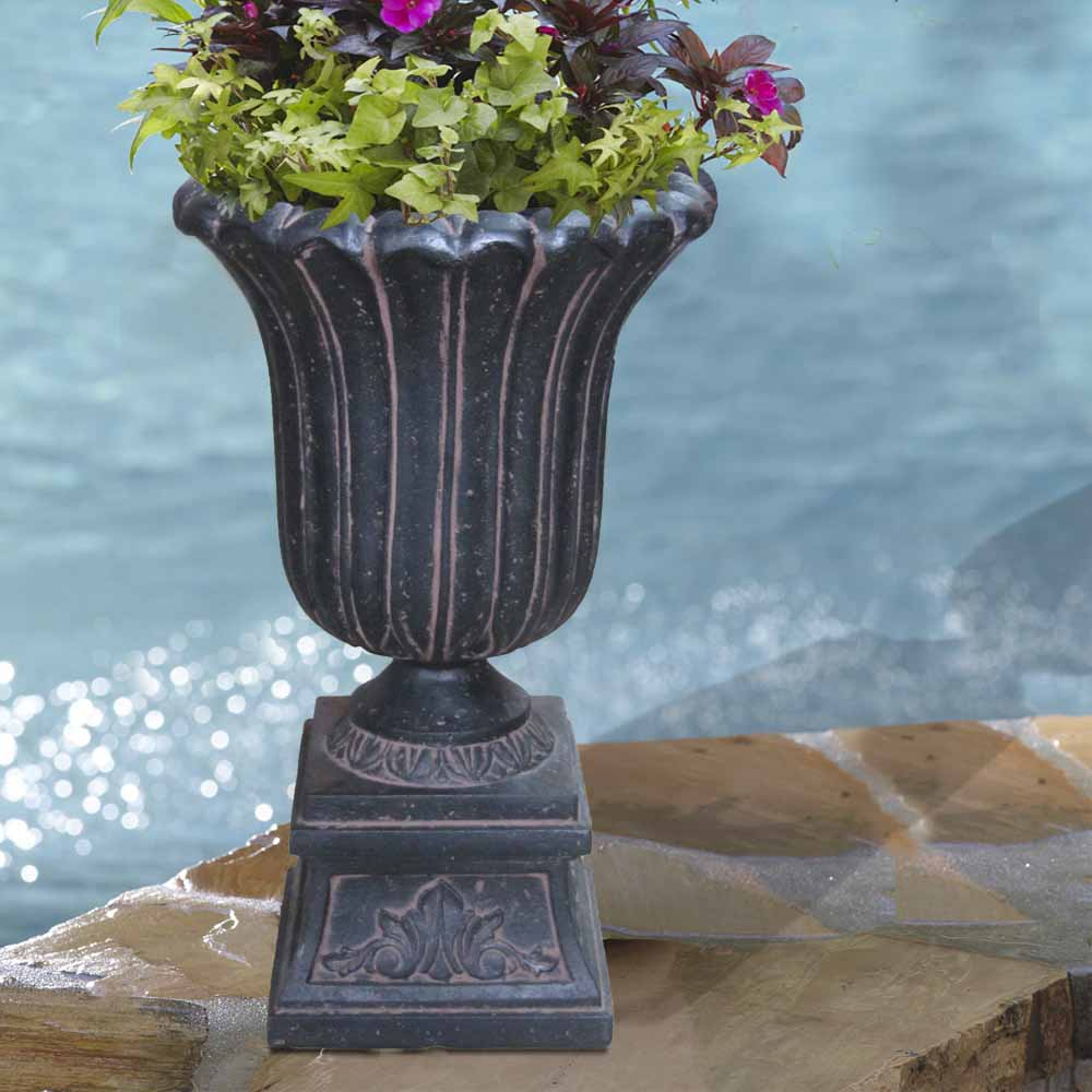 Cast Stone Entrance Urn in Aged Charcoal