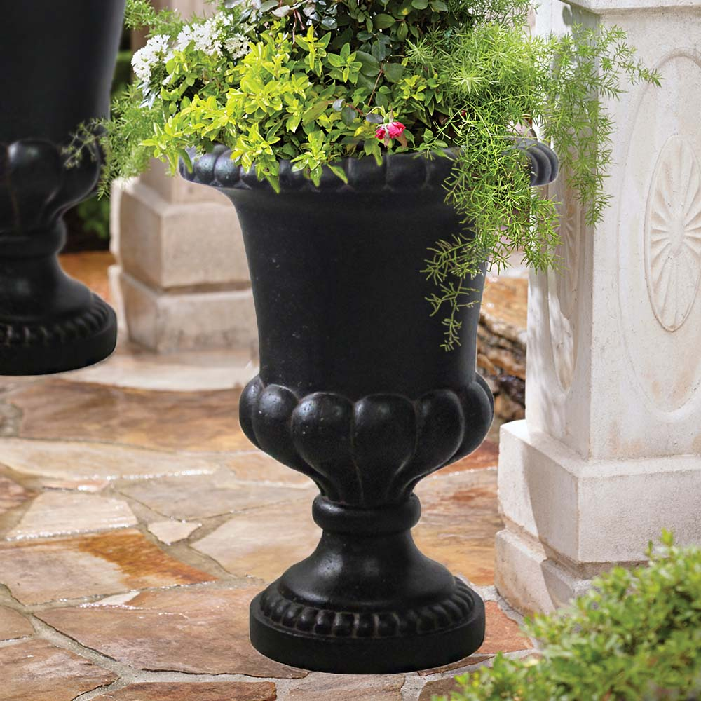 Cast Stone Double Bulbous Urn in Aged Charcoal