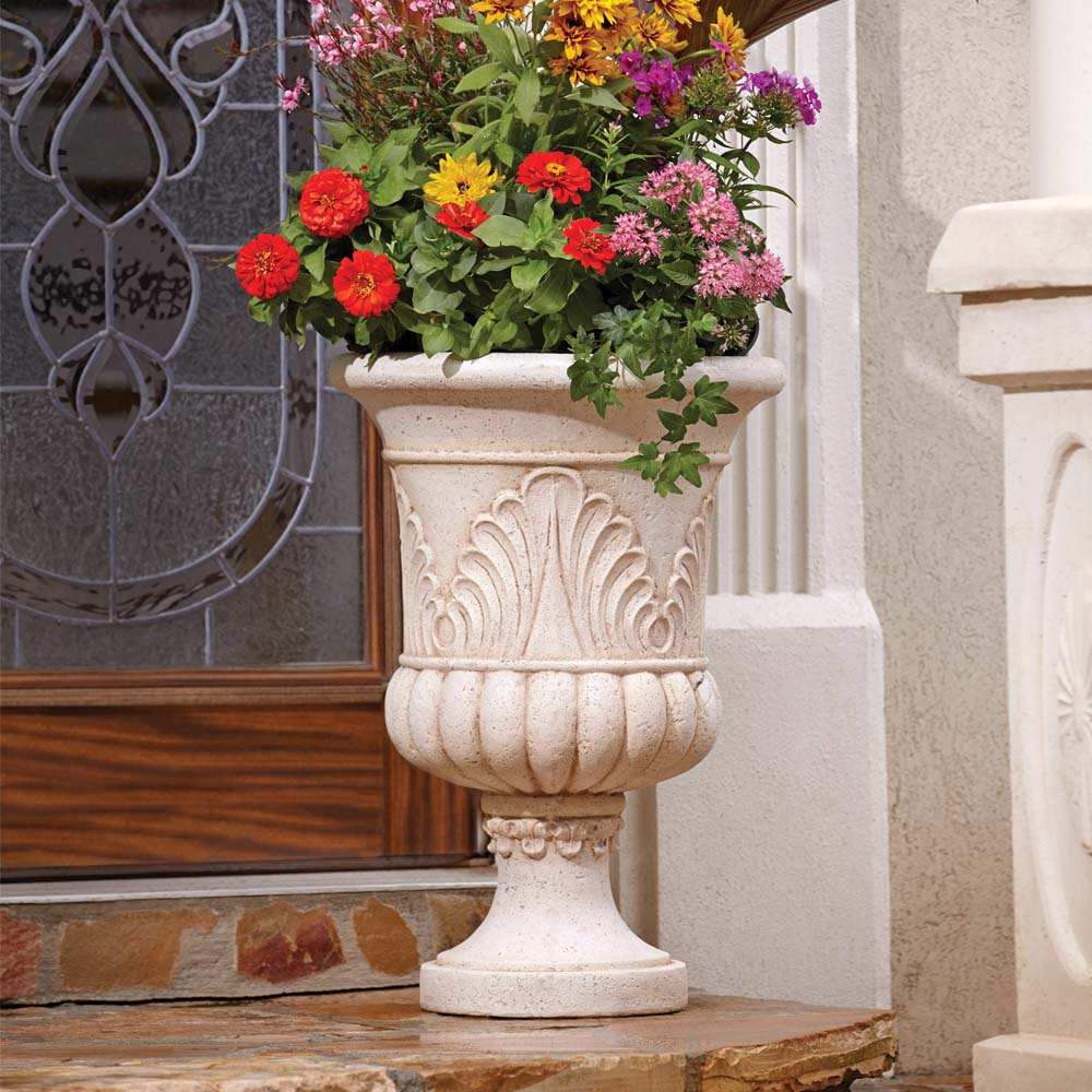 Cast Stone French Urn in Aged White
