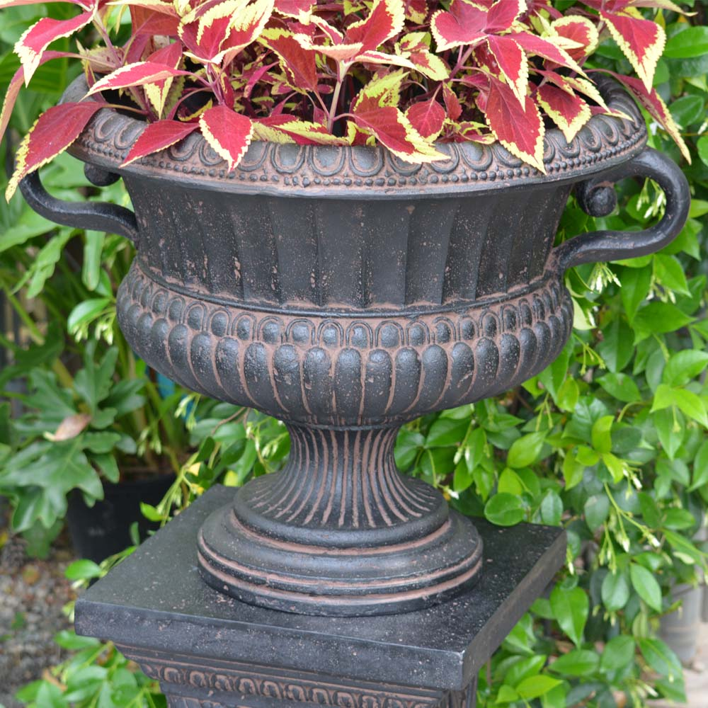 Cast Stone Urn with Handles in Aged Charcoal