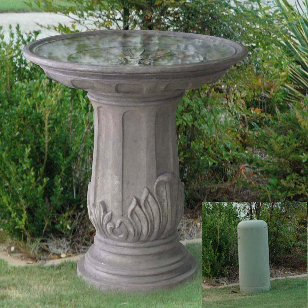 Aged Granite Finish Cast Stone Royal Leaf Bird Bath
