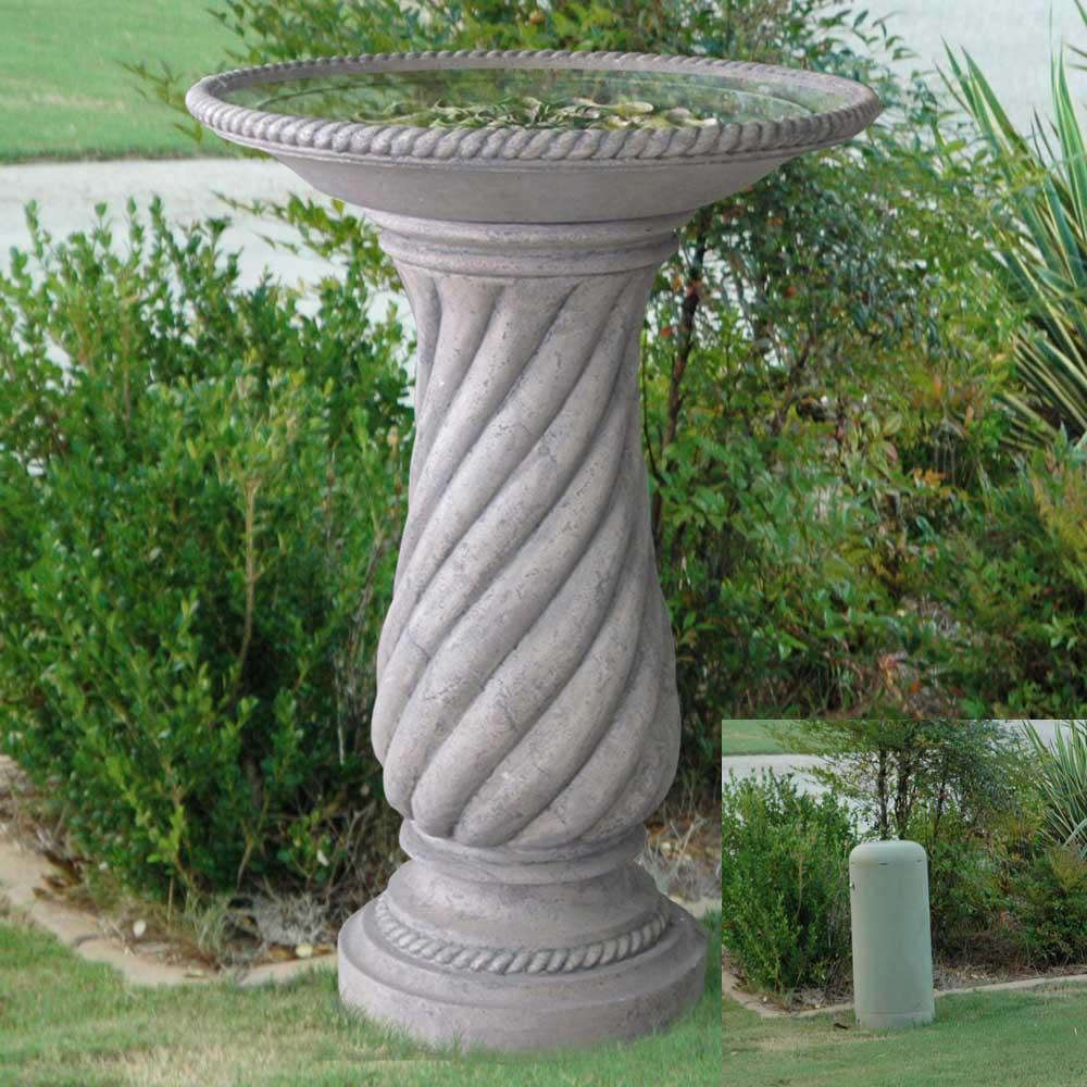 Aged Granite Finish Cast Stone Swirl Base Bird Bath