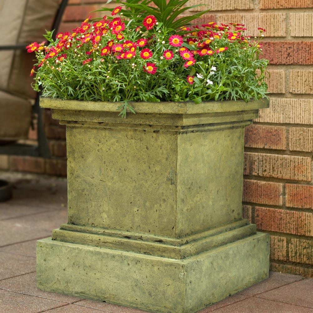 Square Aged Granite Cast Stone Pedestal Planter