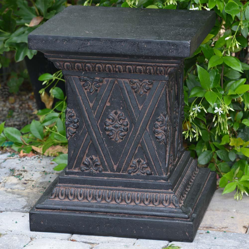 Aged Charcoal Stone Finish Pedestal