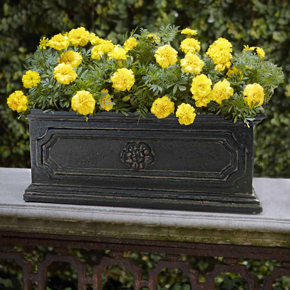 Aged Charcoal Cast Stone Flower Rectangular Planter