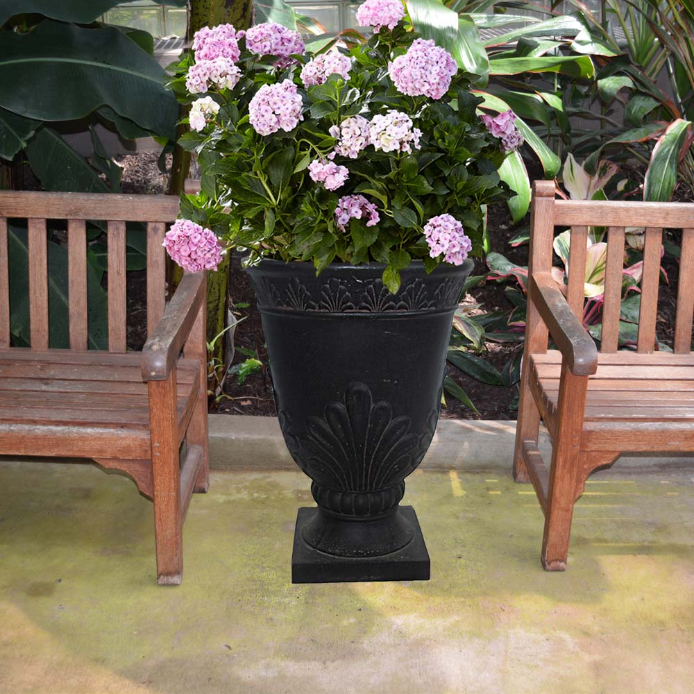 Cast Stone French Leaf Urn in Aged Charcoal