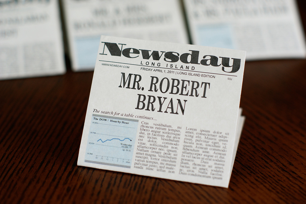 Mini newspaper place cards