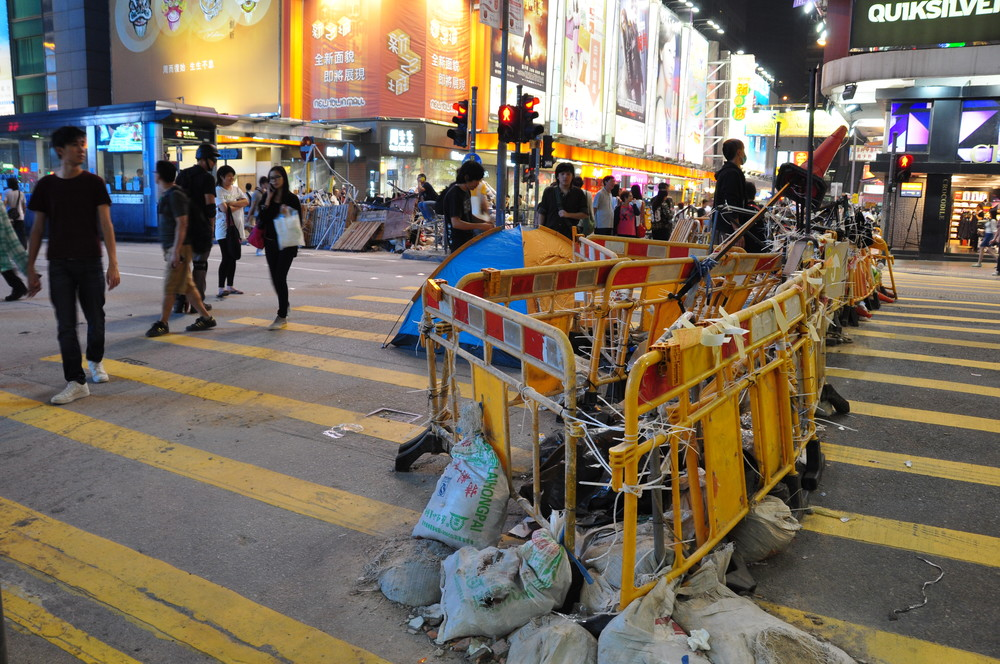 protest barricades in downtown Hong Kong, 2014