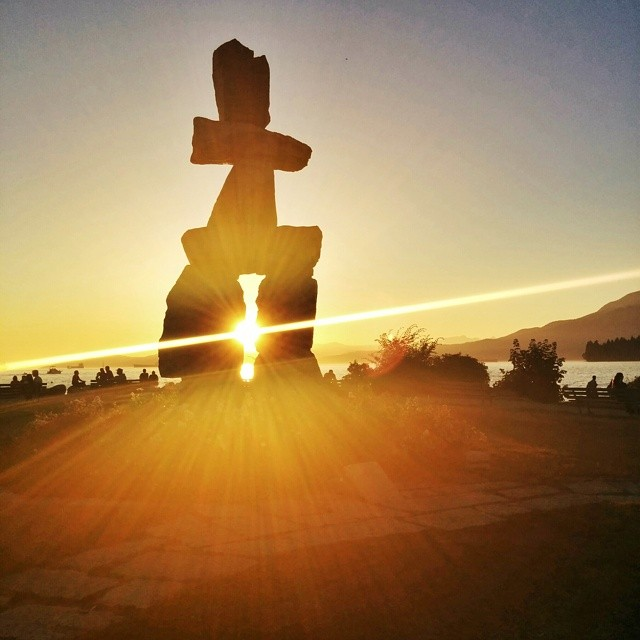 English Bay Inukshuk at sunset (photo credit: https://www.flickr.com/photos/voyagesetc/)