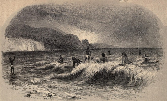 """Hawaiian Sport of Surf Playing, 1851"" (image found at http://www.surfresearch.com.au/z1788_Images.html#Illustrations)"