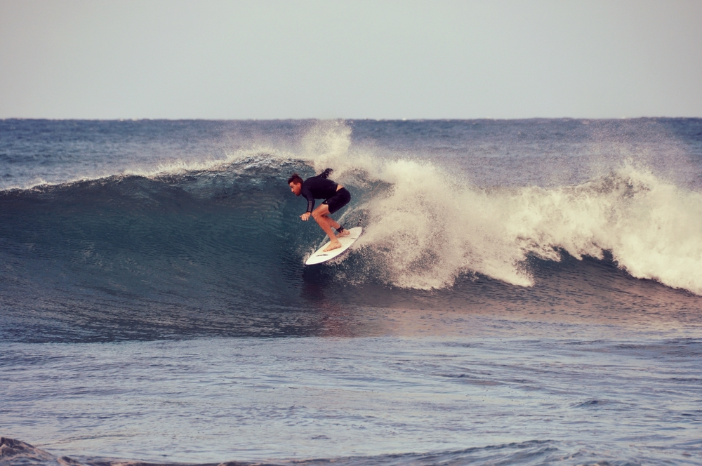 G surfing at Sunset Beach, Oahu