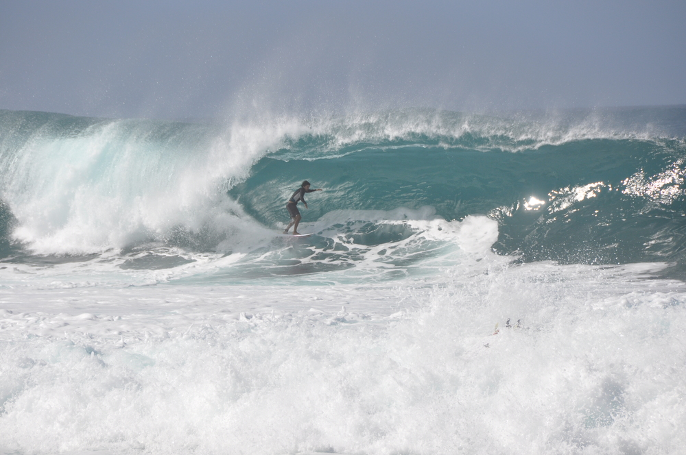 A surfer at Pipeline, Oahu
