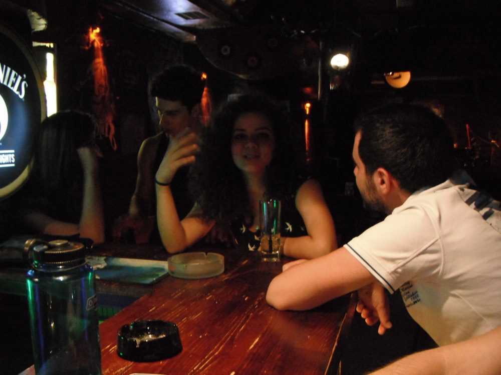 Travelling like a local tip #1: Make a local friend. Here, I'm out for drinks (and political discussions) with new friends in Istanbul.