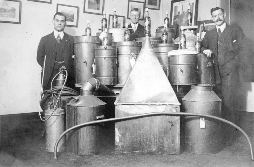 View of liquor stills captured during Prohibition (Vancouver Archives)