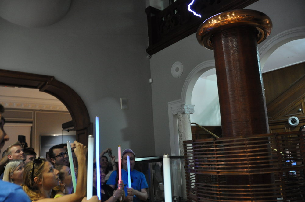 Experimenting with Tesla's coils at the Nikola Tesla Museum, Belgrade