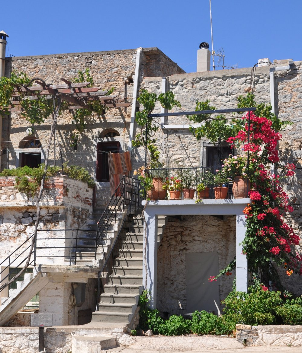 Entering the medieval vilage of Mesta, Chios, Greece