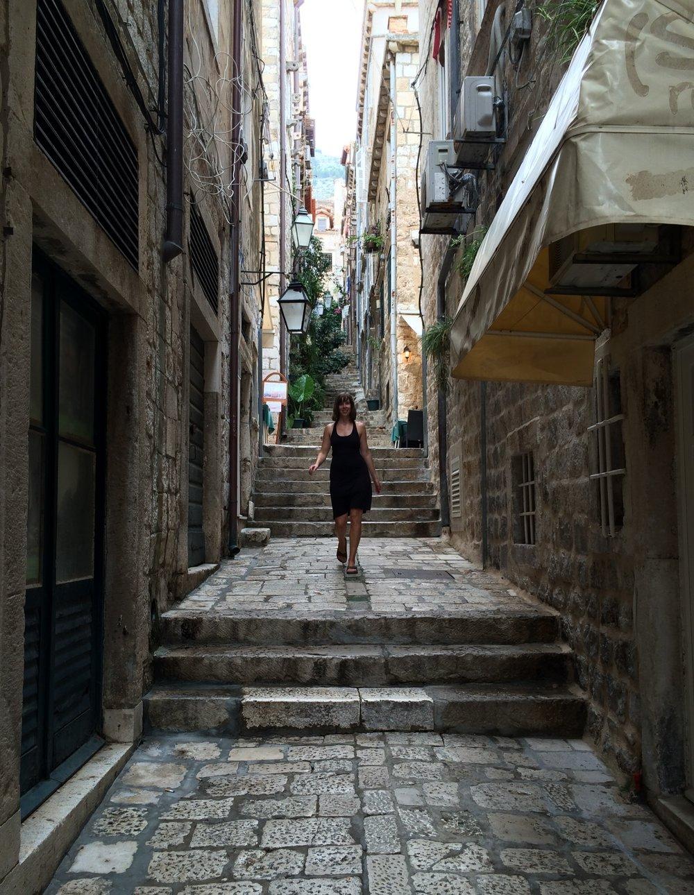 """Doing my best """"runway"""" walk in the alleys of Old Dubrovnik, Croatia."""