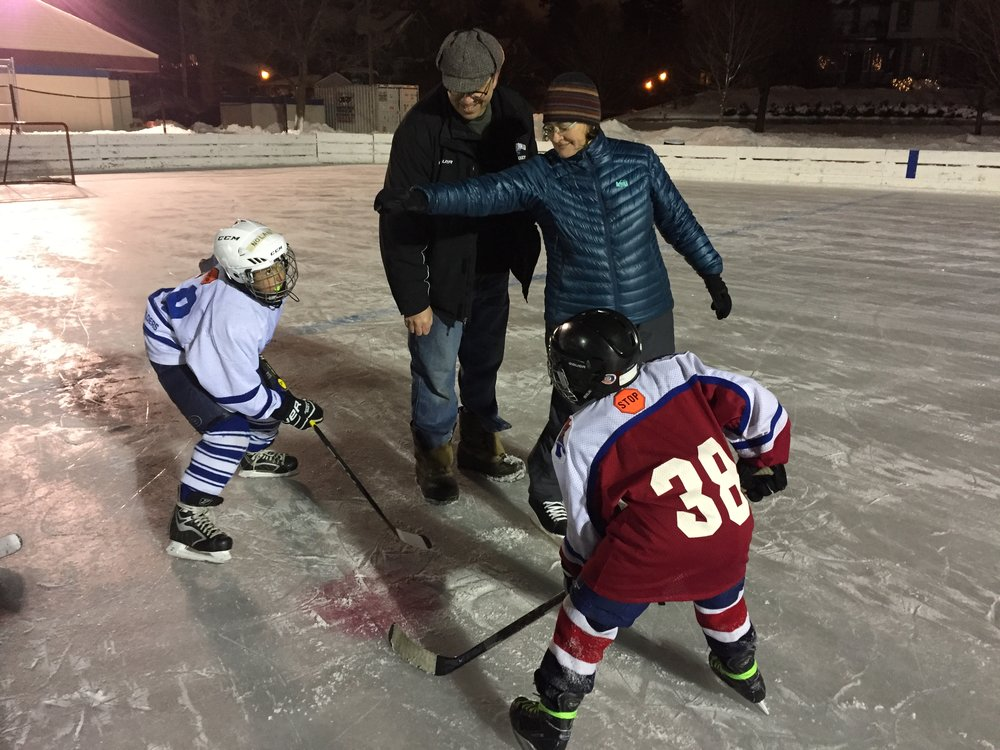 SAP Principal, Dr. Karen Duke drops the first puck of the 2018 Winter Classic.