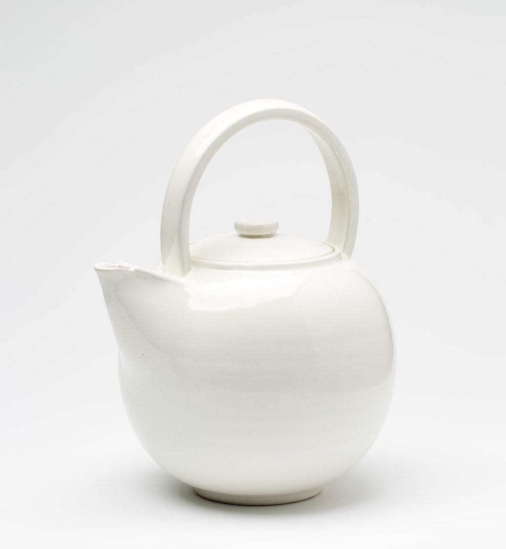"""Teapot  Cone 10 Oxidation Porcelain  6"""" W x 9"""" H  2016"""