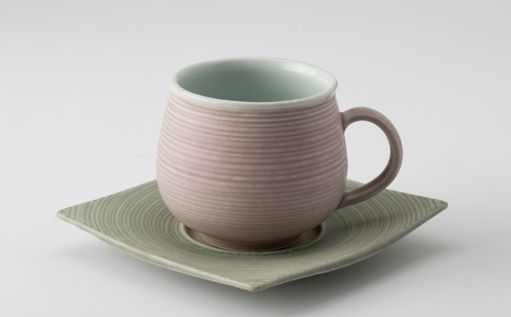 "Cup and Saucer  Cone 10 Reduction Porcelain  4.5"" W x 4"" H  2016"
