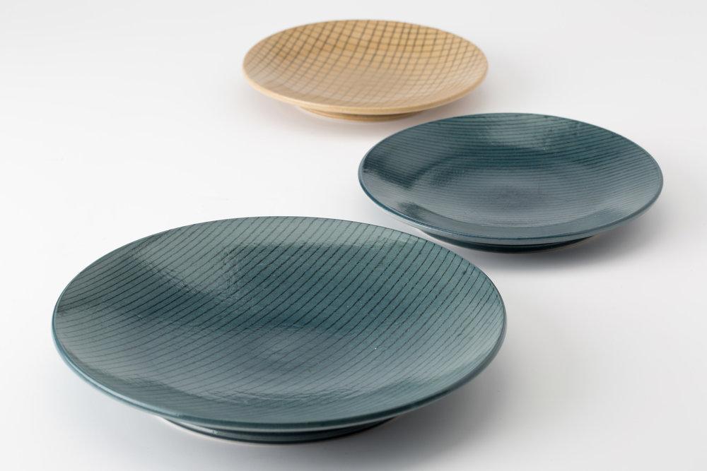 "Plates  Cone 10 Oxidation Porcelain  Large Blue Plate 8.5"" W x 1.75"" H  2016"