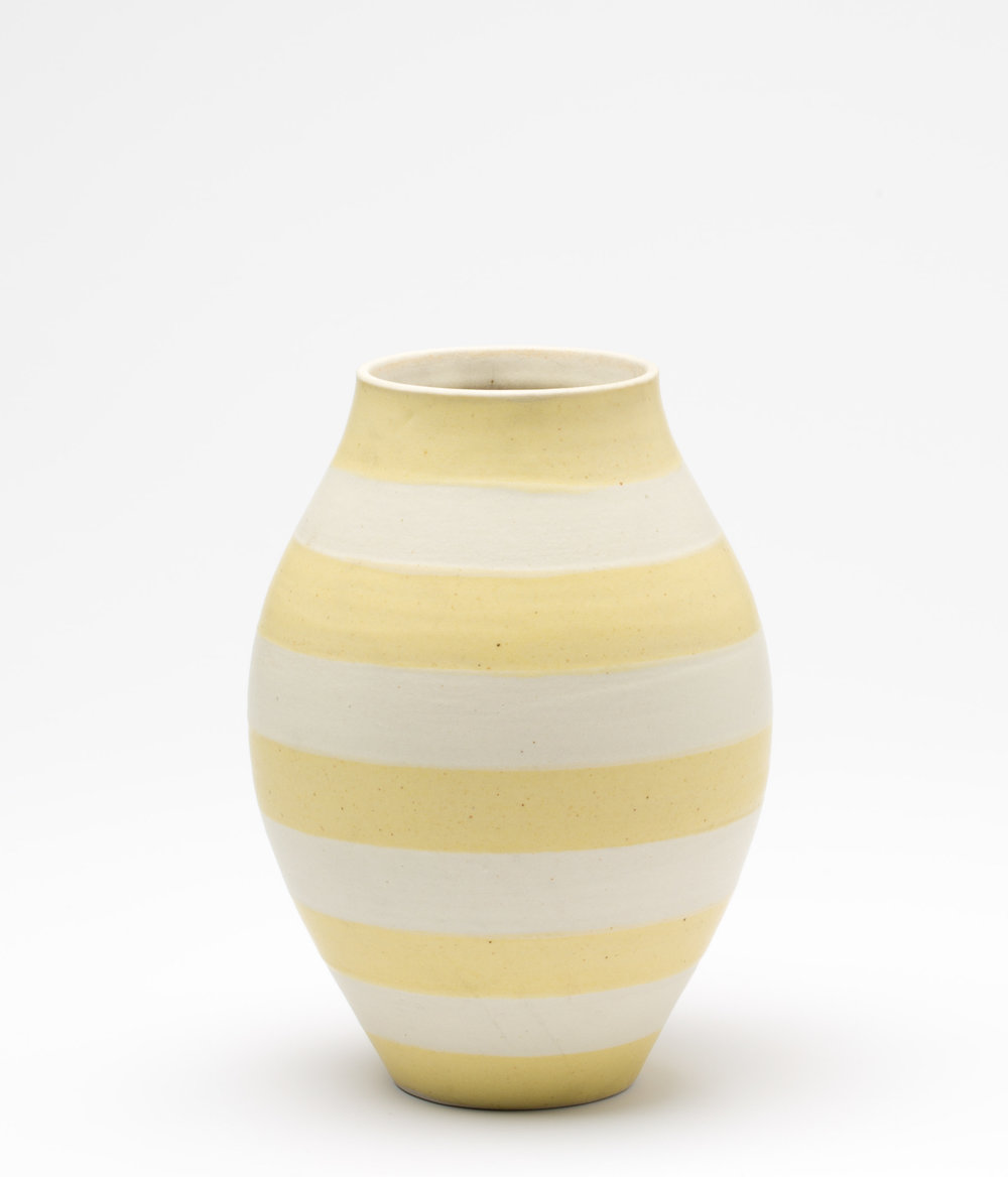 "Striped Vase  Cone 10 Oxidation Porcelain  5"" W x 7"" H  2016"