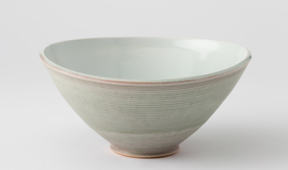 oval bowl, cone 9 reduction porcelain