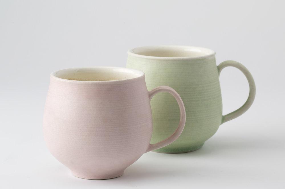 spring mugs, cone 9 oxidation porcelain