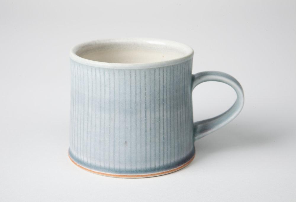 blue mug, cone 9 reduction, porcelain