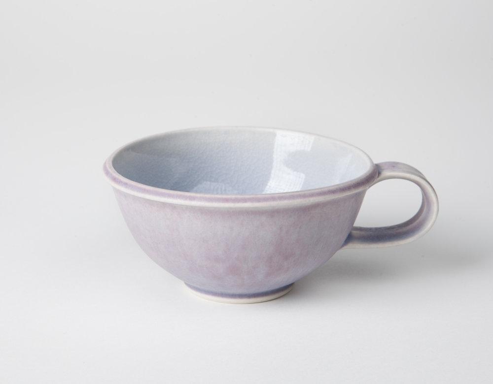 lavender tea cup, cone 9 oxidation porcelain