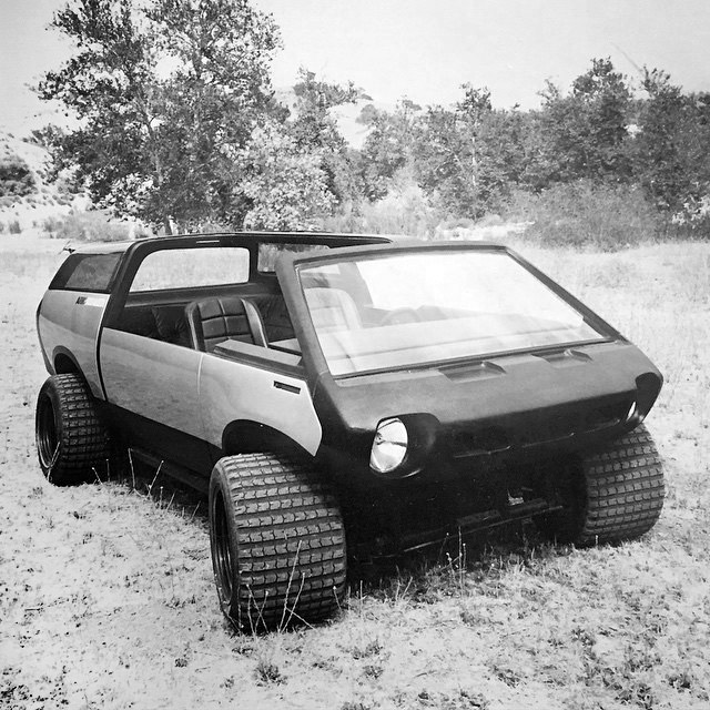 4-wheeled all-terrain vehicle was built by Brubaker from a modified Brubaker Box, a kit car using a 1968 Volkswagen Beetle sedan chassis.