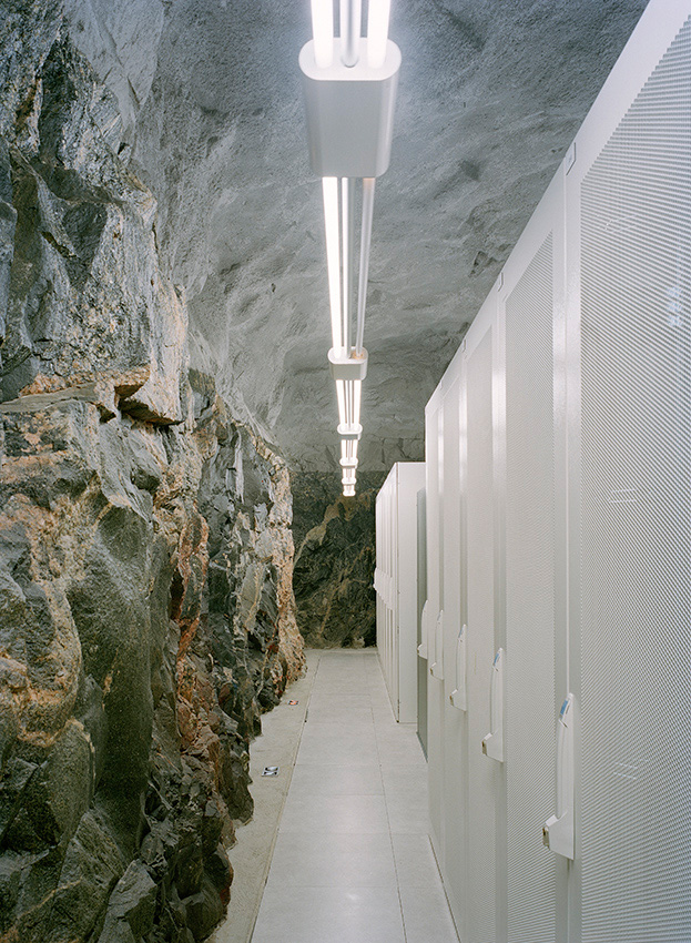 Server halls 30 meters down under the granite rocks of the Vita Berg Park in a former anti-atomic shelter.