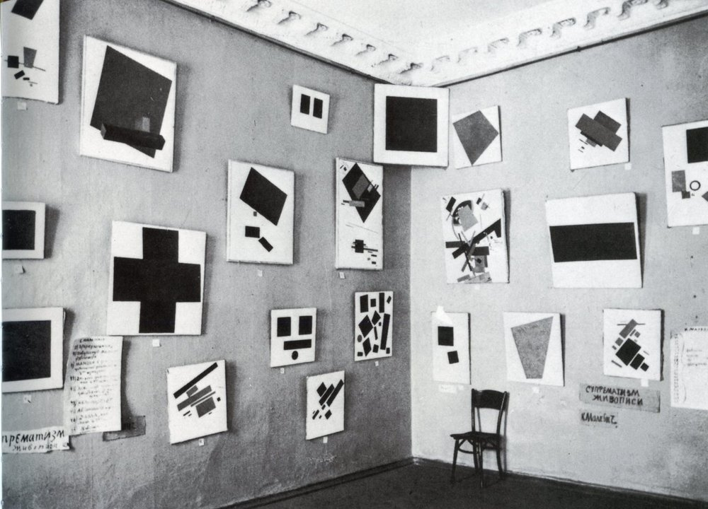 Installation view with paintings by Kazimir Malevich