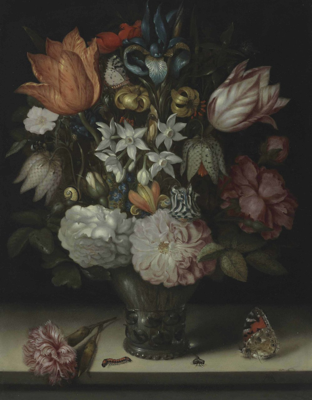 'An iris, tulips, narcissi, roses and fritillaries in a glass vase with various insects, on a stone ledge'