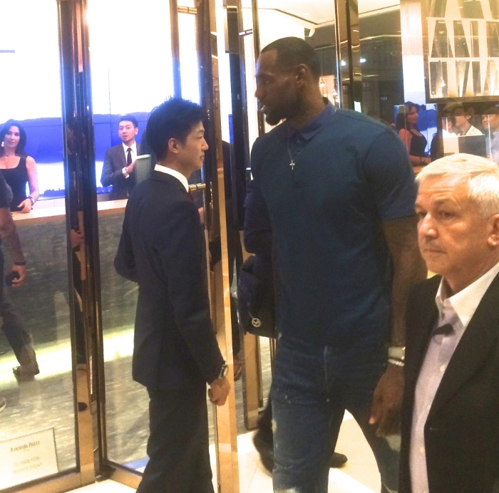 LeBron in Hong Kong - while Nic was heading to store.
