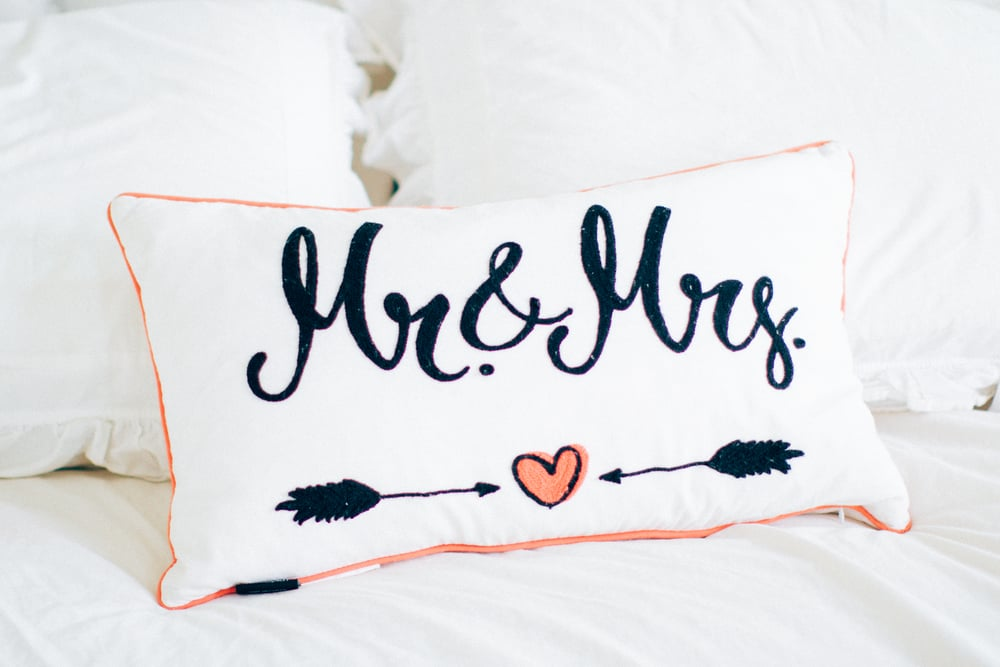 I found this pillow at Home Goods while we were engaged and just love it! perfect for newlyweds!