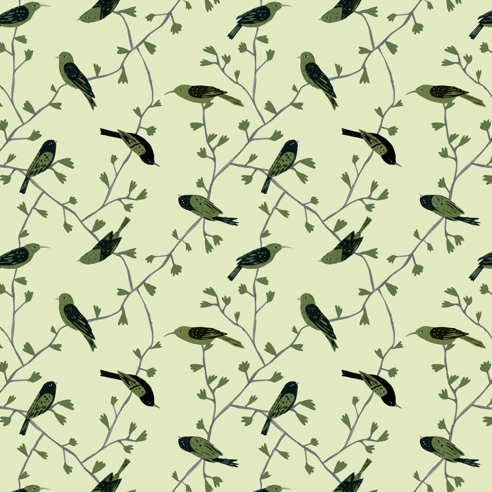 green birds in vines pattern