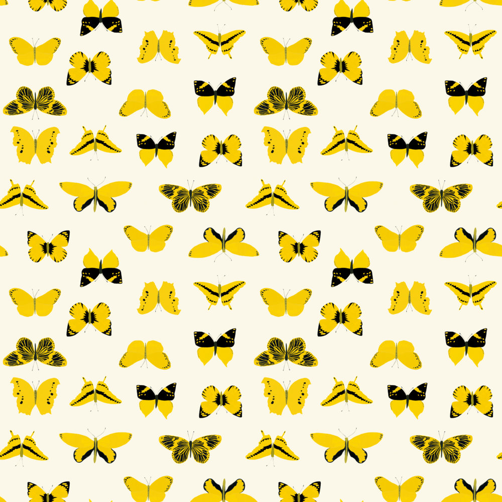 yellow butterflies pattern