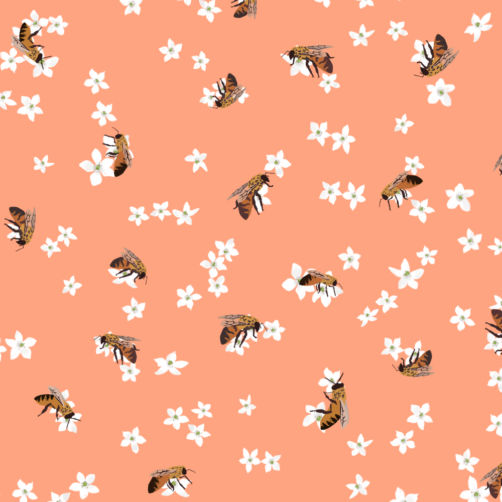 melissa boardman manuka and bees pattern no leaves peach.png