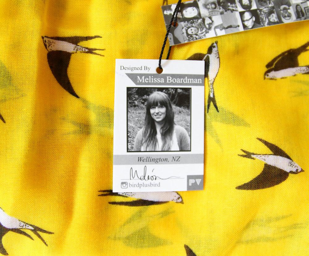 melissa boardman yellow swallows scarf closeup.JPG