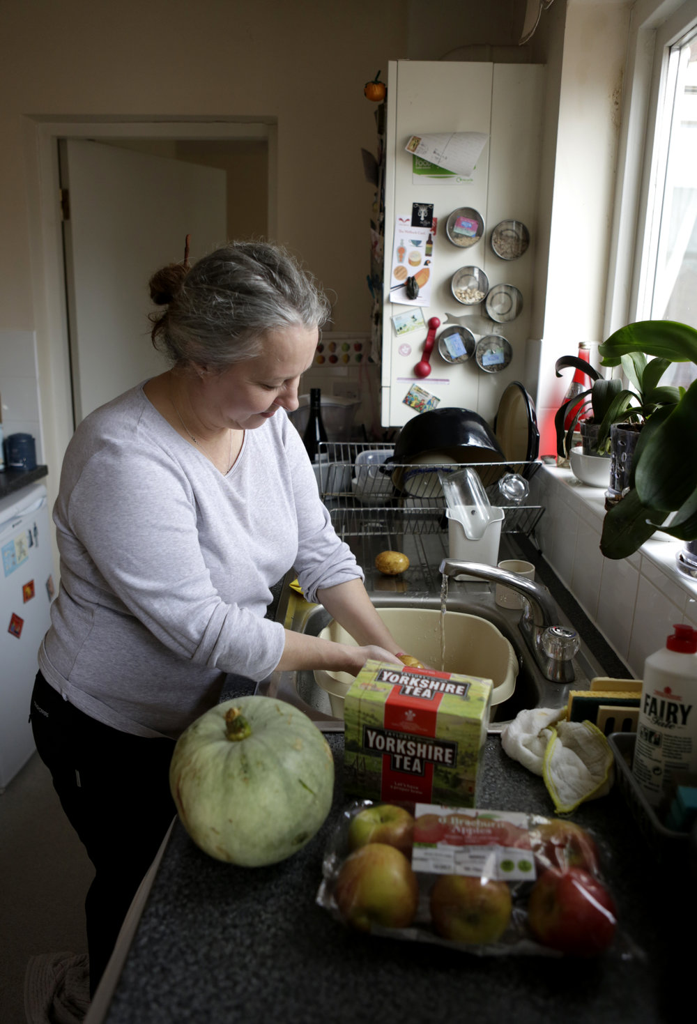 Michele, a special needs teacher from France, in her kitchen. Bolsover, October 2016.