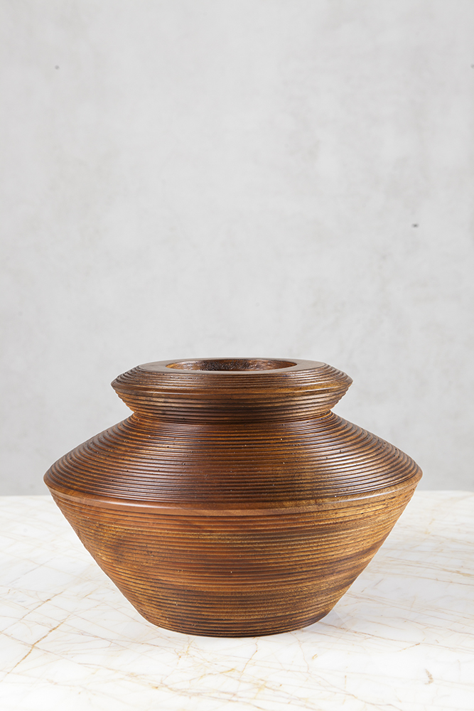 HARU WOODEN VASE - LOW