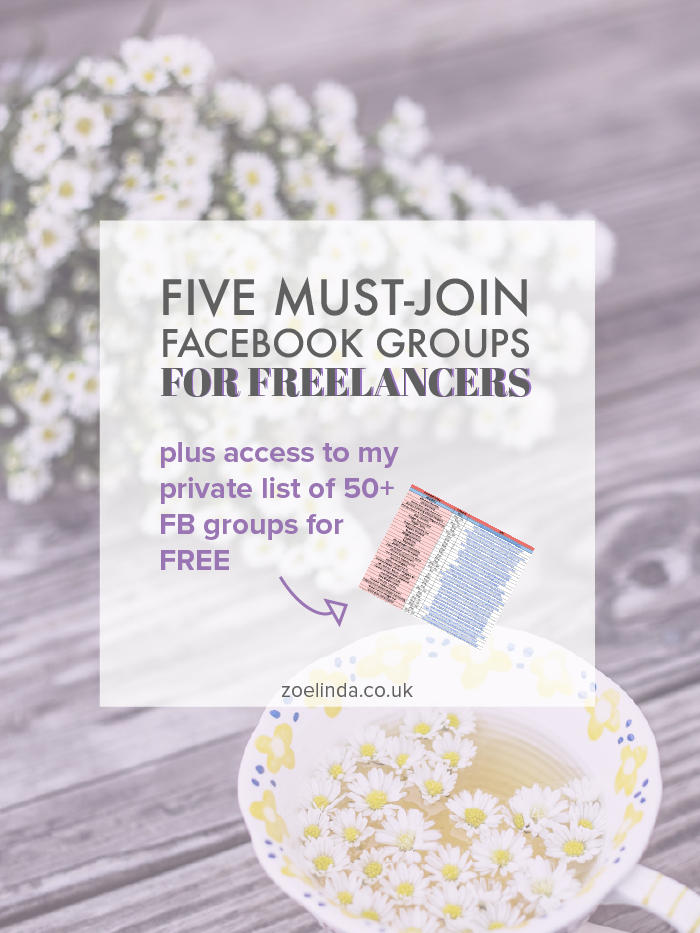 Five Must-Join Facebook Groups For Freelancers | Living the solopreneur life can be tough at times, and especially lonely. These 5 Facebook groups are great for when you need support or just another likeminded biz owner to chat to! This post is perfect for entrepreneurs, freelancers and creative biz owners. Click through to find out more and download your free list of 50+ groups to join!