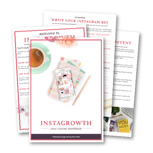 save 51% on the course - The Instagrowth online course + community is $97 - if that's not your thing, the 80+ page workbook (filled with every single lesson, strategy, step, worksheet, and guide in Instagrowth) is only $47