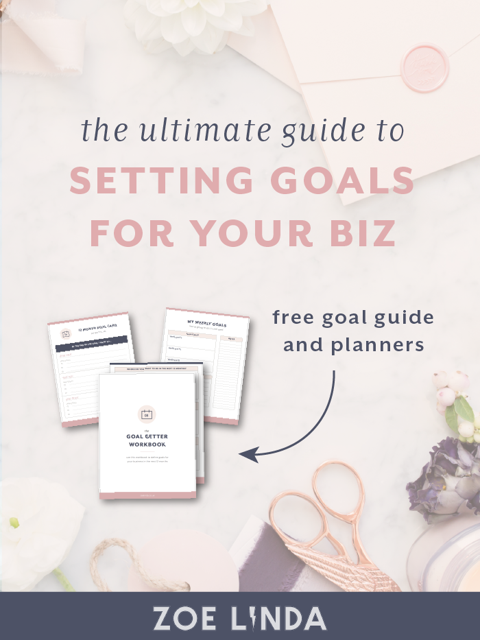 The Ultimate Guide On How To Set Business Goals | Do you struggle to sit down and set goals for your small business? This guide will help you tackle your fears, find your vision and gain clarity in setting aims and objectives for your business. Click through to read this ultimate guide and grab your FREE goal getting goodies pack! This guide is perfect for creative entrepreneurs and small business owners looking to set business goals and boost biz productivity!