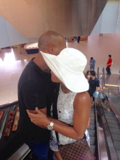 My darling hubby holding me VERY close in the spectacular Singapore Mall (not sure if it was love or panic)