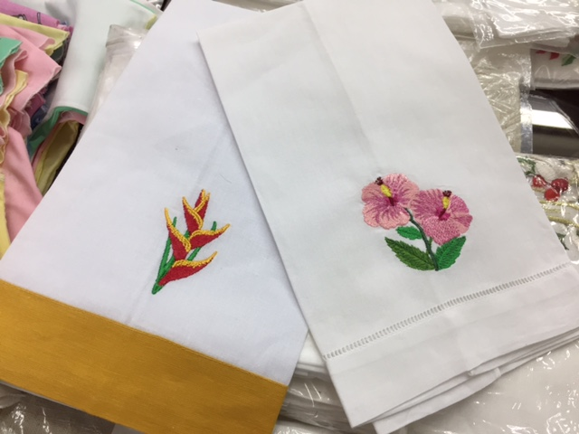 Embroidered Linen Fingertip Towels - $1200 ea Craft Cottage