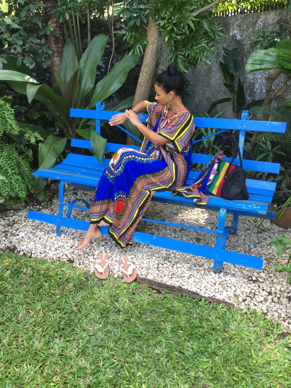 African Print Caftan and Scarf - $4125; Jamaica Stripe Bowler Bag - $1725 My Jamaica