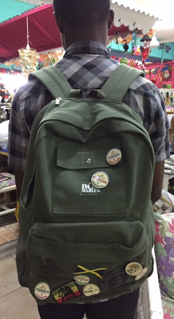 Canvas Knapsack with Bob Marley and Jamaica pins - $4520 Craft Cottage